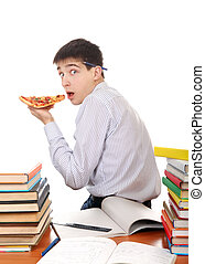 Student with Pizza - Hungry Student secretly eating a Pizza ...