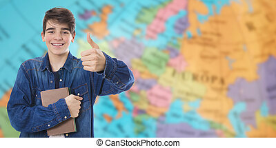 student with positive attitude with geographic map background