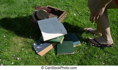 student woman books grass