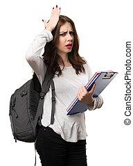 Student woman having doubts