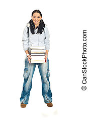 Student woman holding stack of books