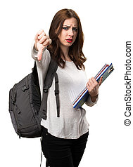 Student woman making bad signal
