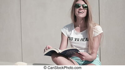 Student Woman Reading Book