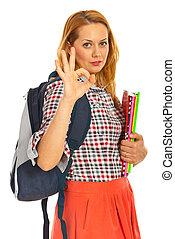 Student woman showing okay