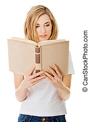 Student woman with book