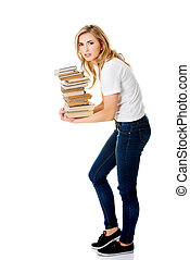 Student woman with books