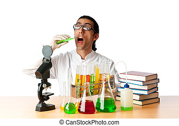 Student working in the chemical lab