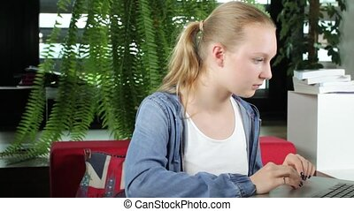 Student Works on Laptop - A young blond female student is...