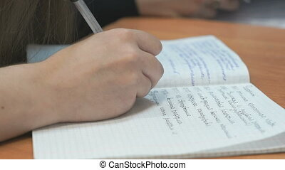 Student writes in copybook at the lesson - Student sitting...