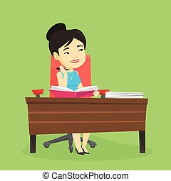 Student writing at the desk vector illustration.