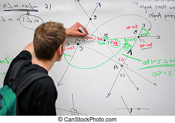 A student writes several complex mathematical formulas, equations, and geometry on a white board. The point of focus is on the board.