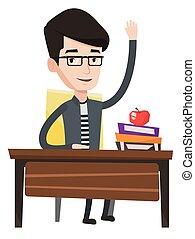 student, wznos ręka, w klasie, dla, na, answer.