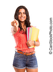 Student - Young and beautiful student posing isolated over...