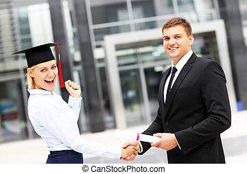 studente, a, cerimonia graduazione