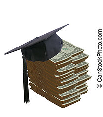 studente, cappello, su, molto, di, soldi