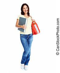 studente, donna, giovane, book.