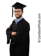 studente, laureato, il portare, veste, e, berretto, isolato, bianco, fondo