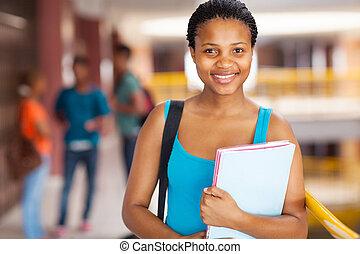 studente, libri, università, africano femmina, presa a terra