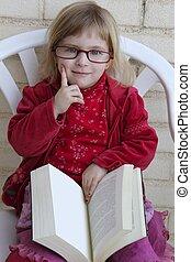 studente, piccola ragazza, lettura, bood