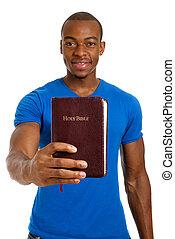 studente, presa a terra, uno, bibbia, esposizione, impegno