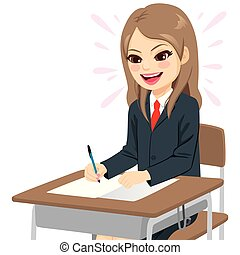 studente, ragazza, esame, facile, felice