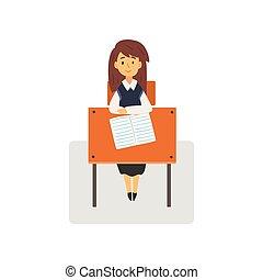 studente, scuola, studiare, seduta, illustrazione, vettore, università, femmina, scrivania, scolara, aula