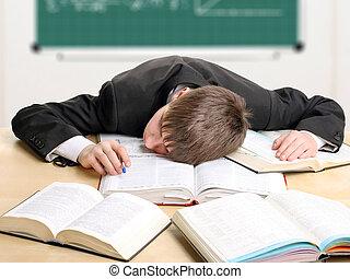 studente, stanco
