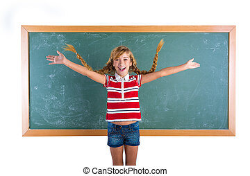 studente, trecce, biondo, ragazza, gioco, intrecciato