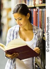 studente università, biblioteca, femmina