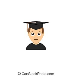 studente, università, graduazione, emoticon, illustrazione