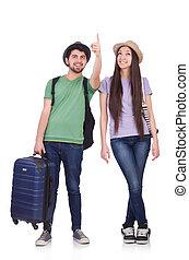 studenten, bereit, für, reise, weiß
