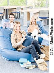 studenten, buecher, gruppe, oberschul-, sitzen