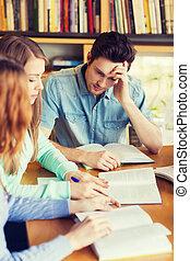 studenten, buecher, prüfung, buchausleihe, vorbereiten
