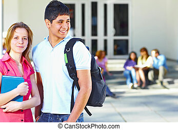 studenten, front, gruppe, zwei