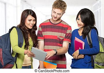 studenten, glücklich, teenager, junger