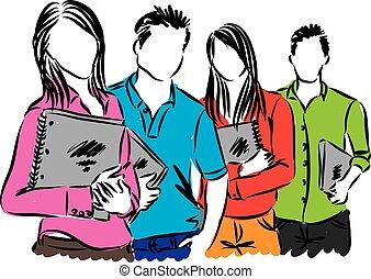 studenten, gruppe, abbildung