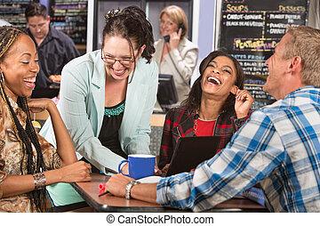 studenten, gruppe, lachender