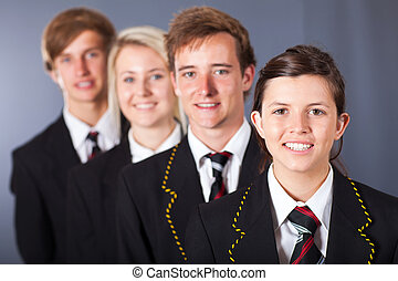 studenten, gymnasium, gruppenbild