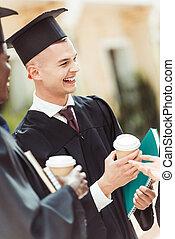 studenten, kaffeetassen, verfügbar, multiethnic