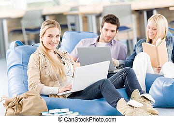 studenten, laptop, gruppe, oberschul-, sitzen