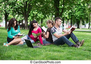 studenten, lektion, draußen, haben