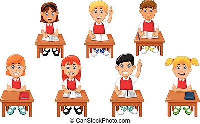studenten, lustiges, karikatur, lernen