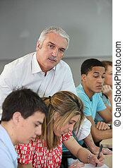 studenten, mit, lehrer