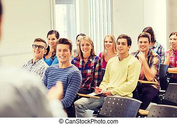 studenten, notizbuch, gruppe, lehrer