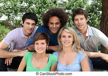 Studenten,  Park, Gruppe, glücklich