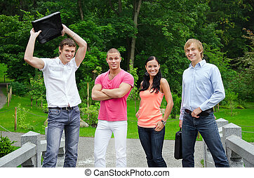 studenten, park, gruppe, heiter