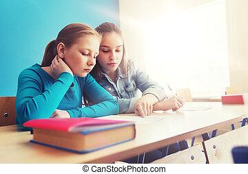 studenten, pr�fung, schule, gruppe
