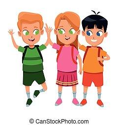 studenten, reizend, schule, kindheit, karikatur
