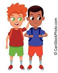 studenten, schule, bezaubernd, kindheit, karikatur