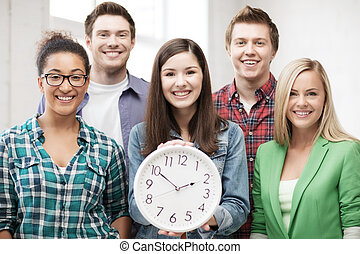 studenten, schule, gruppe, uhr